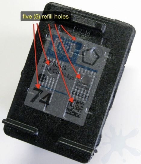 Hewlett Packard (HP) 74 black inkjet printer cartridge refill hole locations.
