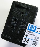 Cartridge design for the HP 74 black inkjet print cartridge.