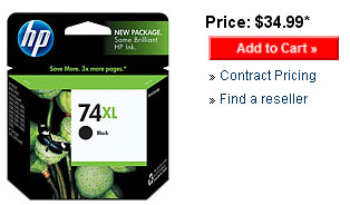 Retail price for the HP 74XL inkjet print cartridge - black.