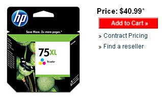 HP 75XL, 75 XL tri-color ink cartridge.