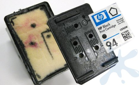 HP 94 ink cartridge exploded view.  There are five refill holes present, and one giant sponge.