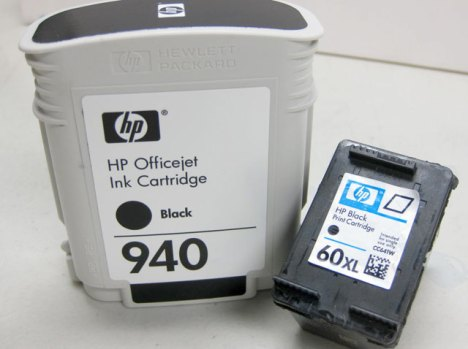 HP 940 and HP 60 ink cartridges compared side by side 940 vs 60 print inks