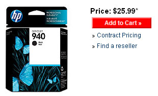 Retail price of the HP 940 standard capacity ink cartridge.