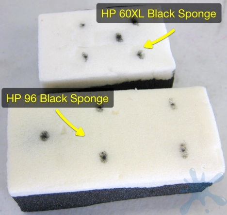 Comparison of the HP 96 and HP 60XL black ink cartridge sponges.