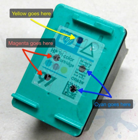 Refill hole locations for the HP 97 ink cartridge