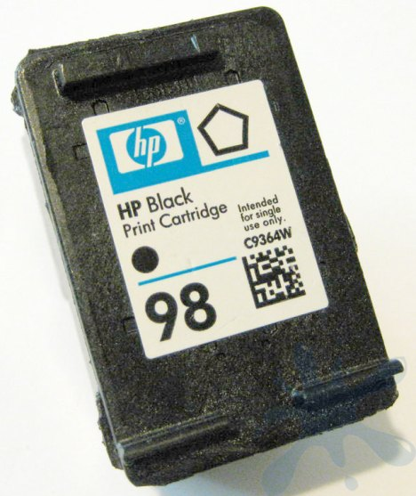 Inside an HP ink cartridge - The HP 98 black ink cartridge inside.