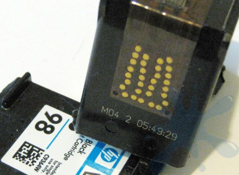 HP 98 black ink cartridge cartridge contacts - solder points - copper leads.