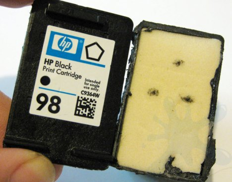 Inside an HP, Hewlett Packard, inkjet print cartridge ink - HP 98 black low capacity black ink.