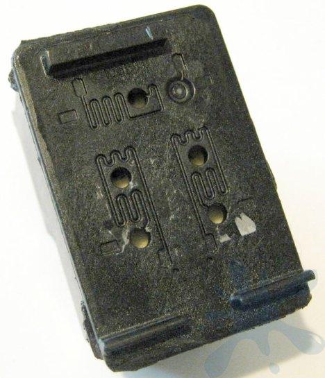 HP 98 black ink cartridge refill hole locations.