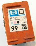 A look inside an HP ink cartridge - the HP 99 photo color ink cartridge.