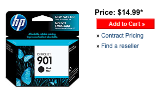 HP 901 black inkjet print cartridge - retail price from HP's website.