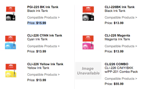 Canon cli-225, and cli-226 inkjet print cartridges for the Pixma iP4280.
