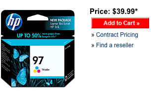 Retail price for the HP 97 tri-color ink cartridge.