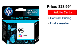 Retail price for HP color ink cartridge 95 from the HP website.