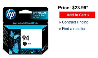 HP 94 black ink cartridge retail price on the HP website.