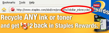 Staples now offers only $2.00 for a recycled ink cartridge.