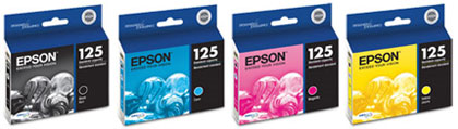 T125 series ink cartridges from Epson - Four (4) in the series.